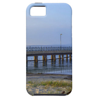 Photo of pier in sunset with anchor iPhone 5 case