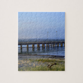 Photo of pier in sunset with anchor jigsaw puzzle
