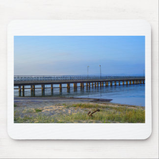 Photo of pier in sunset with anchor mouse pad