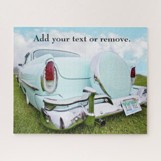 Photo of rear view of turquoise 1950s classic car, jigsaw puzzle