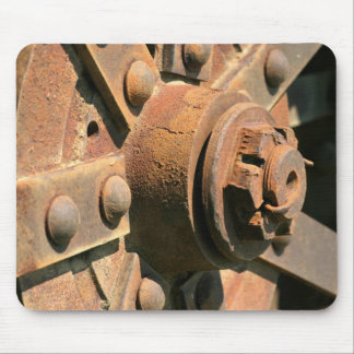 Photo of rusty old tractor wheel hub and axle mouse pad