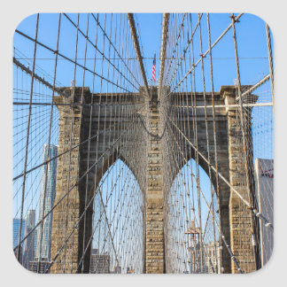 Photo of the Brooklyn Bridge in NYC Square Sticker