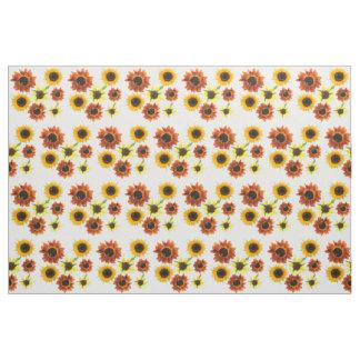 Photo of Yellow Orange Sunflowers Floral Fabric