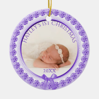 Photo Ornament | Purple Baby Girl First Christmas