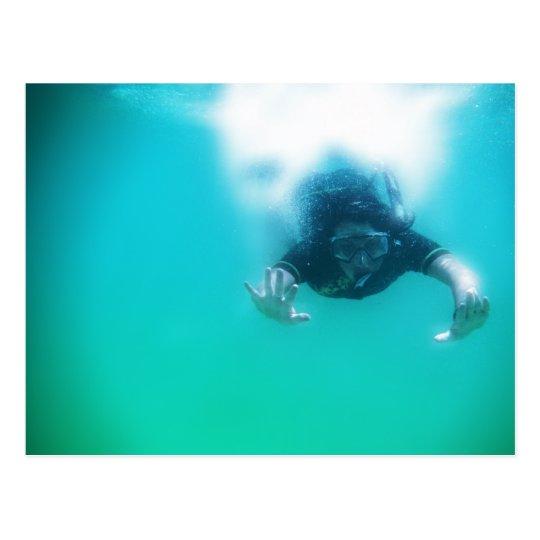 photo perfect snorkeler postcard