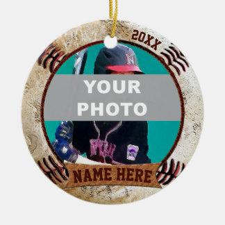PHOTO Personalized Baseball Ornaments Text, Photo