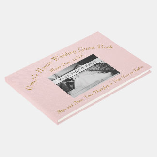 Photo Personalized Blush Wedding Guest Book