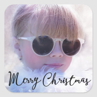 Photo Personalized Christmas Square Stickers