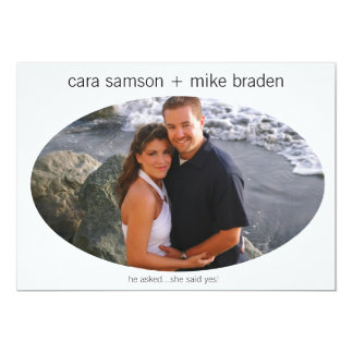"Photo/Personalized Oval Frame Save-the-date 5"" X 7"" Invitation Card"