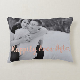 Photo Pillow with Happily Ever After in Rose Gold
