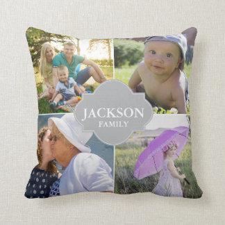 Photo Pillows, 4 collage photos with family name Throw Pillow