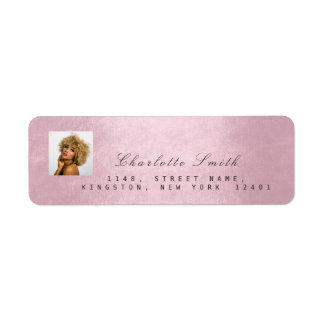 Photo Pink Rose RSVP Adress Name Metallic