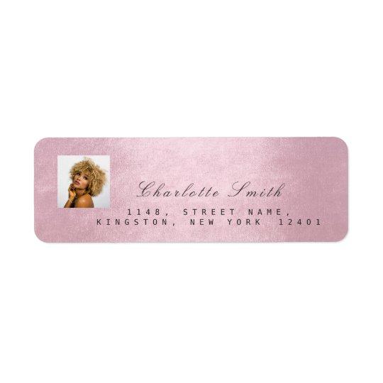 Photo Pink Rose RSVP Adress Name Metallic Return Address Label