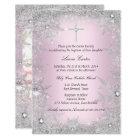 Photo Pink Silver Snowflake Baptism/Christening Card