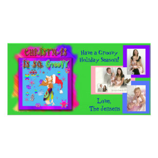 Photo post card customizable with groovy cartoon personalized photo card