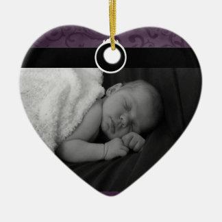 Photo précieuse de bébé ornement cœur en céramique