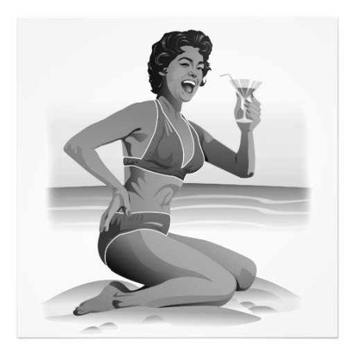Photo print summer pin-up with cocktail