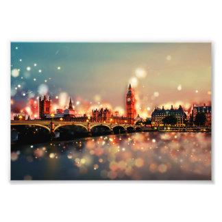 Photo printing. London, Big Ben, Bridge, Stadt