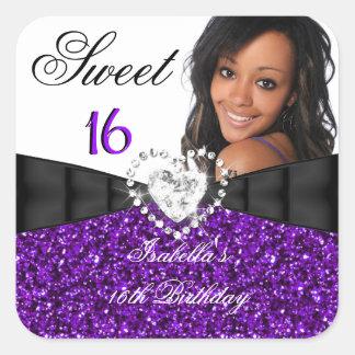 Photo Purple Glitter Silver Sweet 16 16th Birthday Square Sticker