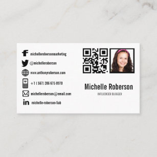 Social media icons business cards profile cards zazzle ca photo qr code and social media icons business card colourmoves
