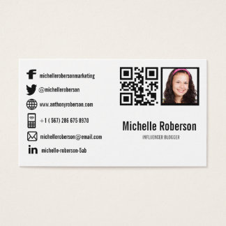 photo qr code and social media icons business card