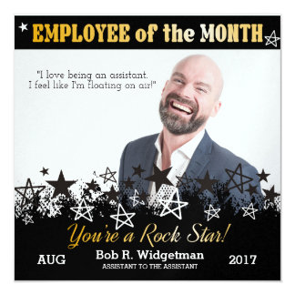 Photo quote employee of the month award rock star card