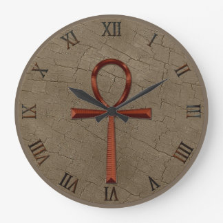 Photo Realistic Wood-effect & Copper-look Ankh Large Clock