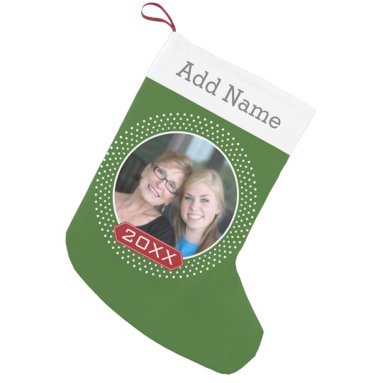 Photo Red Green Polka Dot Frame and Custom Year Small Christmas Stocking