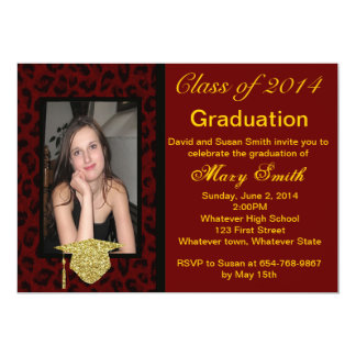 Photo Red Leopard Graduation Invitation