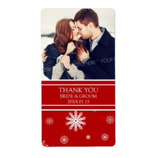 Photo Red White Snowflakes Winter Wedding Label