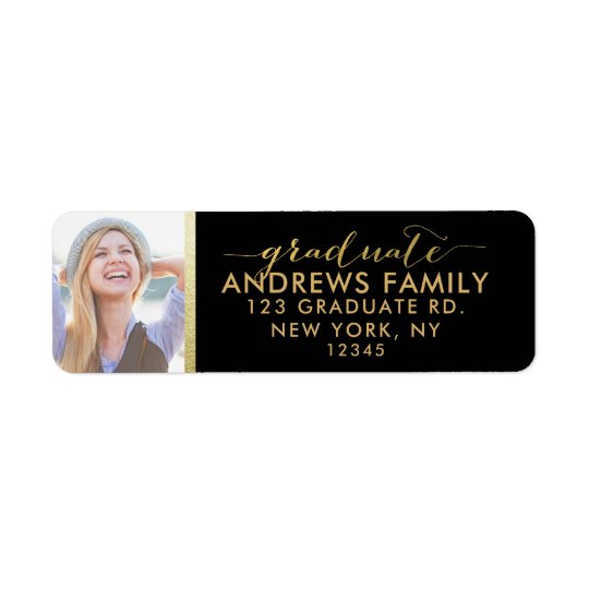 Photo Return Address | Graduate Gold Black