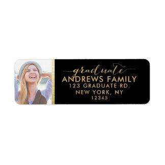 Photo Return Address | Graduate Gold Black Return Address Label