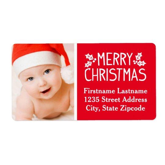 Photo Return Address Label | Merry Christmas