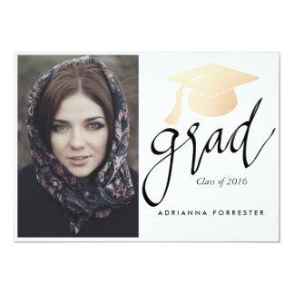 Photo rose de chapeau d'obtention du diplôme de carton d'invitation  12,7 cm x 17,78 cm