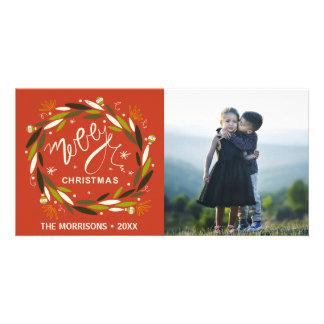Photo rouge et verte de Joyeux Noël rustique de Photocarte