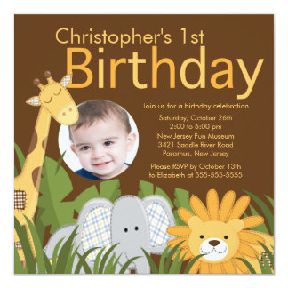 "Photo Safari Jungle Animal Kid Birthday Party 5.25"" Square Invitation Card"