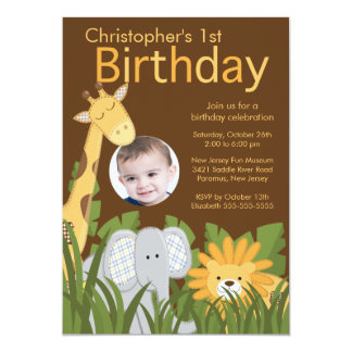 "Photo Safari Jungle Animal Kid Birthday Party 5"" X 7"" Invitation Card"