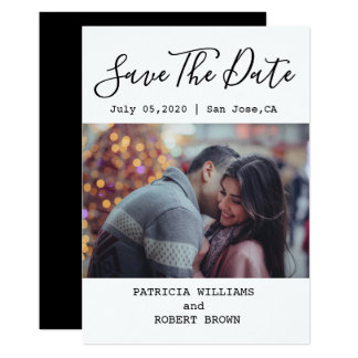 Photo Save The Date | Black And White Minimalist Card