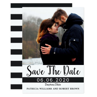 Photo Save The Date Black White Stripe Card