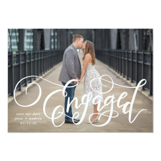 Photo Save the Date - Hand Lettered Engaged Card