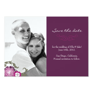 "Photo Save the Date // The Plum Bouquet Collection 5"" X 7"" Invitation Card"