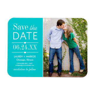 Photo Save the Date | Turquoise Blue Magnet