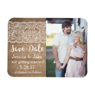 Photo Save the Date with Burlap & Lace- Magnet