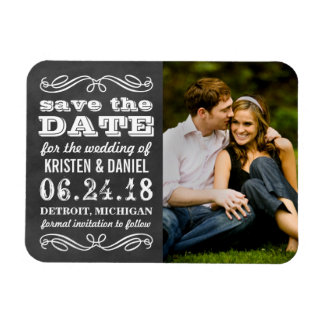 Photo Save the Dates | Vintage Black Chalkboard Magnet