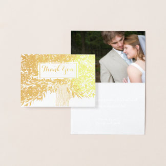Photo Silver Foil Wedding Initials Tree Thank You Foil Card