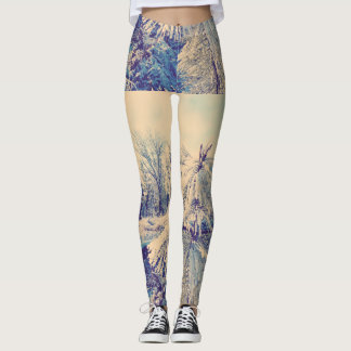 Photo Snow Pine Frost Sky Leggings