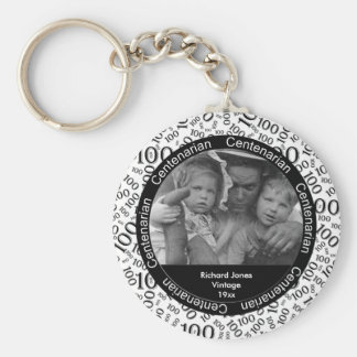 Photo Template: 100th Birthday Centenarian Black Keychain