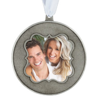 Photo Template Keepsake Christmas Ornament Pewter Scalloped Pewter Ornament