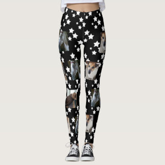Photo Template Leggings | Black with White Stars