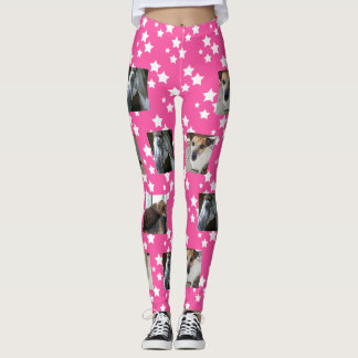 Photo Template Leggings   Pink with White Stars